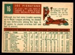 1959 Topps #16  Joe Pignatano  Back Thumbnail