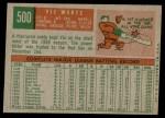 1959 Topps #500  Vic Wertz  Back Thumbnail