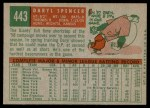 1959 Topps #443  Daryl Spencer  Back Thumbnail