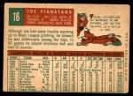 1959 Topps #16  Joe Pignatano  Back Thumbnail