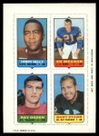 1969 Topps 4-in-1 Football Stamps  Leroy Kelly / Ed Meador / Ray Ogden / Bart Starr  Front Thumbnail