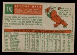 1959 Topps #176  Preston Ward  Back Thumbnail