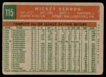 1959 Topps #115  Mickey Vernon  Back Thumbnail