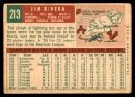 1959 Topps #213  Jim Rivera  Back Thumbnail