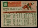 1959 Topps #182  Milt Graff  Back Thumbnail