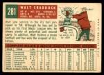 1959 Topps #281  Walt Craddock  Back Thumbnail