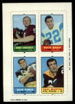 1969 Topps 4-in-1 Football Stamps  Sonny Jurgensen / Dick Bass / Dave Parks / Paul Martha  Front Thumbnail