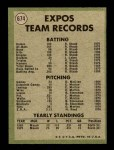 1971 Topps #674   Expos Team Back Thumbnail