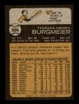 1973 Topps #306  Tom Burgmeier  Back Thumbnail