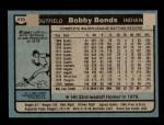 1980 Topps #410  Bobby Bonds  Back Thumbnail