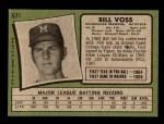 1971 Topps #671  Bill Voss  Back Thumbnail