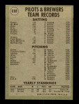 1971 Topps #698   Brewers Team Back Thumbnail