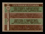 1976 Topps #593   -  Larry Anderson / Ken Crosby / Mark Littell / Butch Metzger Rookie Pitchers   Back Thumbnail