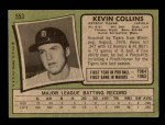 1971 Topps #553  Kevin Collins  Back Thumbnail
