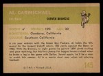 1961 Fleer #145  Al Carmichael  Back Thumbnail