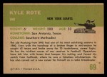 1961 Fleer #69  Kyle Rote  Back Thumbnail