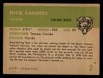 1961 Fleer #2  Rick Casares  Back Thumbnail