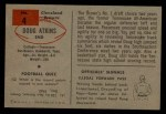 1954 Bowman #4  Doug Atkins  Back Thumbnail