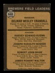 1973 Topps #646   -  Del Crandall / Harvey Kuenn / Joe Nossek / Bob Shaw / Jim Walton Brewers Leaders Back Thumbnail