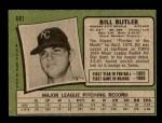 1971 Topps #681  Bill Butler  Back Thumbnail