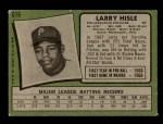 1971 Topps #616  Larry Hisle  Back Thumbnail