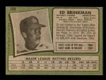 1971 Topps #389  Ed Brinkman  Back Thumbnail