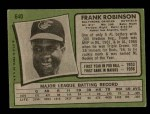 1971 Topps #640  Frank Robinson  Back Thumbnail