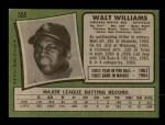 1971 Topps #555  Walt Williams  Back Thumbnail