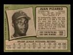 1971 Topps #647  Juan Pizarro  Back Thumbnail