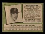 1971 Topps #653  Russ Snyder  Back Thumbnail