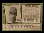 1971 Topps #689  Frank Baker  Back Thumbnail