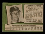 1971 Topps #520  Tommy John  Back Thumbnail