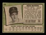 1971 Topps #548  Don Mason  Back Thumbnail