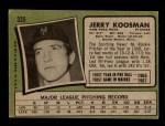 1971 Topps #335  Jerry Koosman  Back Thumbnail