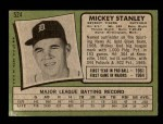 1971 Topps #524  Mickey Stanley  Back Thumbnail