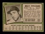 1971 Topps #350  Billy Williams  Back Thumbnail