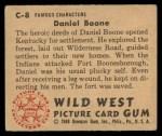1949 Bowman Wild West #8 C Daniel Boone  Back Thumbnail