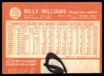 1964 Topps #175  Billy Williams  Back Thumbnail
