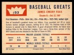 1960 Fleer #53  Jimmie Foxx  Back Thumbnail