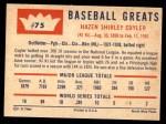 1960 Fleer #75  Kiki Cuyler  Back Thumbnail