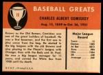 1961 Fleer #18  Charles Comiskey  Back Thumbnail