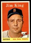 1958 Topps #332  Jim King  Front Thumbnail