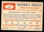 1960 Fleer #9  Mordecai Brown  Back Thumbnail