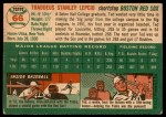 1954 Topps #66  Ted Lepcio  Back Thumbnail