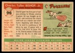 1955 Topps #96  Charlie Bishop  Back Thumbnail