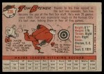 1958 Topps #220  Tom Brewer  Back Thumbnail
