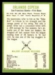 1963 Fleer #64  Orlando Cepeda  Back Thumbnail