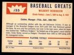 1960 Fleer #33  Wilbert Robinson  Back Thumbnail