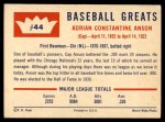 1960 Fleer #44  Cap Anson  Back Thumbnail