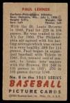 1951 Bowman #8  Paul Lehner  Back Thumbnail